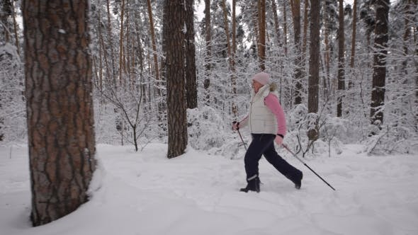 Thumbnail for Elderly Woman Dressed in Winter Sport Clothes Quickly Goes on the Path Using Special Sticks for