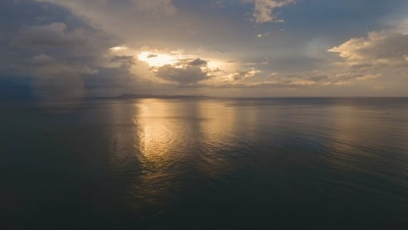 Thumbnail for Beautiful Sunset Over Sea, Aerial view.Catanduanes