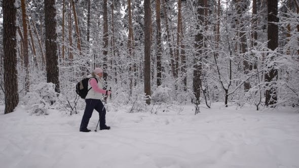 Thumbnail for Sport Adult Woman Quickly Goes Through the Woods. Behind Her Is a Backpack