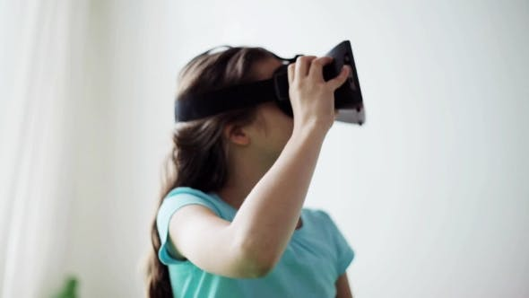 Thumbnail for Happy Girl in Vr Headset or 3d Glasses at Home 23