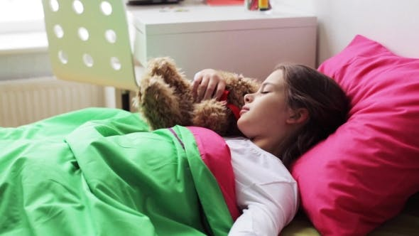 Thumbnail for Little Girl with Teddy Bear Sleeping at Home 40