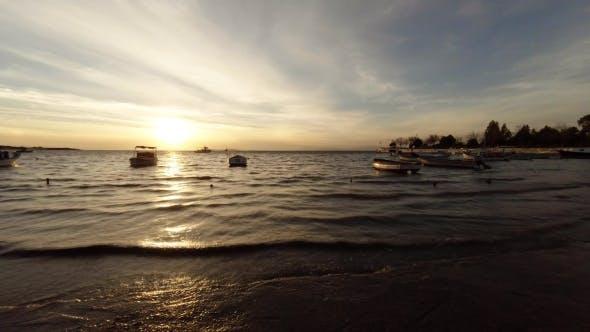 Thumbnail for Anchored Fishing Boats During Sunset at Aegean Sea