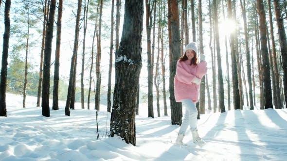 Freedom, Happiness, Beautiful Girl Walks in the Woods Fun, Sun's Rays Shine Through Trees in the