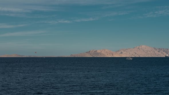 Thumbnail for Beautiful Evening Landscape of Sea and Mountains  From Left To Right. Evening View of the Red Se