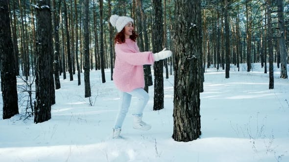 Cover Image for Winter Fairy Tale, Happiness, Lifestyle, Young Woman, a Beautiful Woman in a Knitted Sweater with