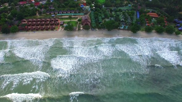 Thumbnail for Aerial View of Beach with Sea Waves on Tropical Island