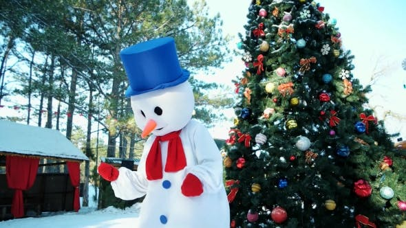 Thumbnail for Dancing Snowman, Funny Man Dancing in Fancy Dress on the Background of the Christmas Tree Outdoors