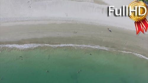 Aerial View of Sandy Beach With Turquoise Water