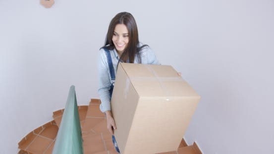 Thumbnail for Happy Young Woman Carrying a Box Upstairs