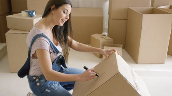 Thumbnail for Attractive Woman Moving House and Packing