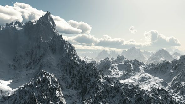 Thumbnail for Mountains in Snow and Clouds at Blue Sky