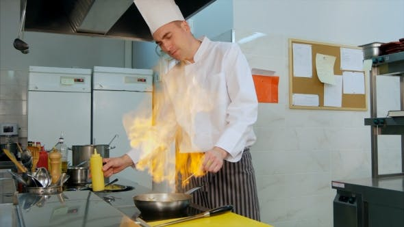 Thumbnail for Chef Doing Flambe with Vegetables