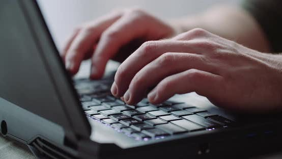 Thumbnail for Business - Businessman Hands Type on Laptop Computer Close Up