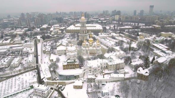 Aerial View Kiev-Pechersk Lavra in Winter, Kiev , Ukraine