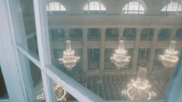 Thumbnail for Overview Dolly Shot of Classical Style Organ Hall with Big Glass Chandaliers