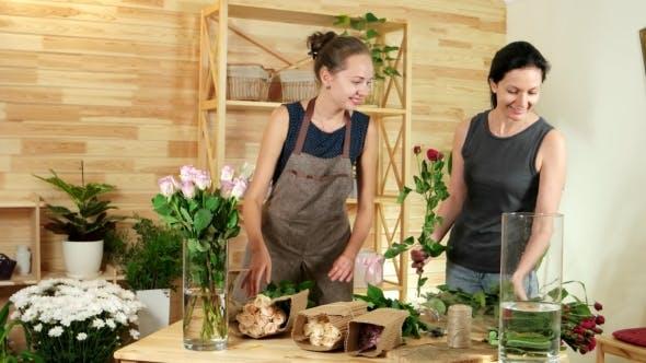 Thumbnail for Preparing Flowers for Making Festive Bouquets, Female Florists Unpacks Roses, Beautiful Girl Florist