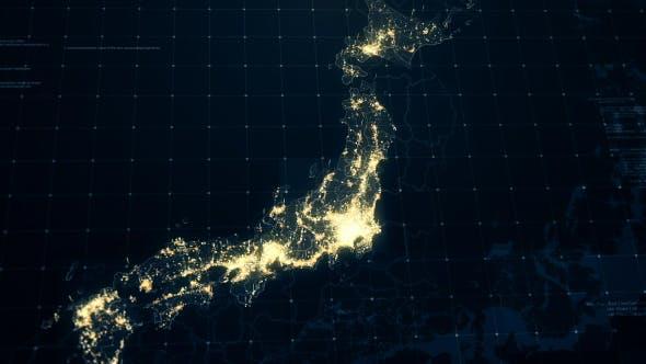 Thumbnail for Japan Map at Night HD