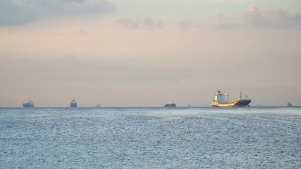 Thumbnail for Cargo Ships Anchored in the Sea. Philippines, Manila.