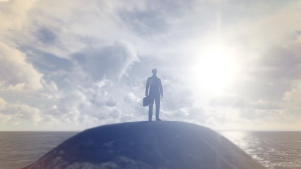 Cover Image for Businessman Standing On The Hill With Ocean Background
