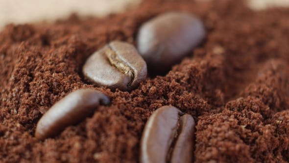 Coffee Beans on Ground Coffee.