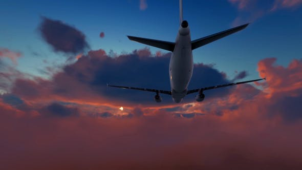 Thumbnail for Plane Takes Off At Sunset