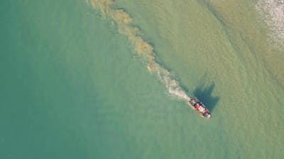 Fishing Ship Uses Trawl for Fishing