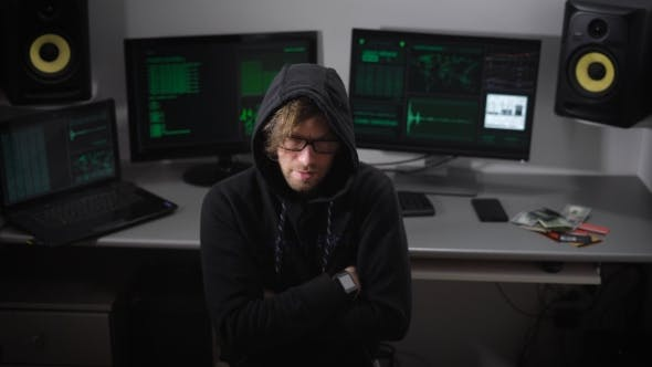 Thumbnail for Hacker Thinks About How His Hack Program and Then Abruptly Turns To the Monitor Screen and Starts