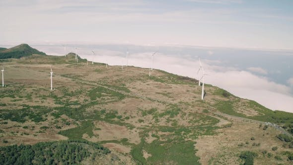 Thumbnail for Aerial View of Energy Producing Wind Turbines