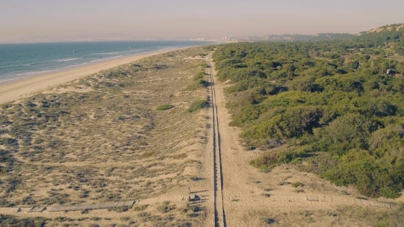 Thumbnail for Aerial View Railroad on Sandy Beach