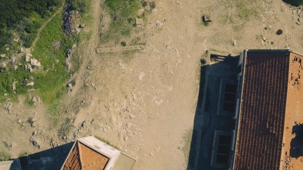 Thumbnail for Aerial View of the Abandoned House on Top Cliff