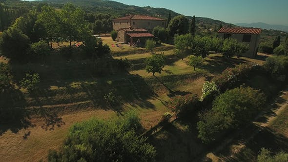 Holiday House and Olive Trees in Tuscany on Sunny Day