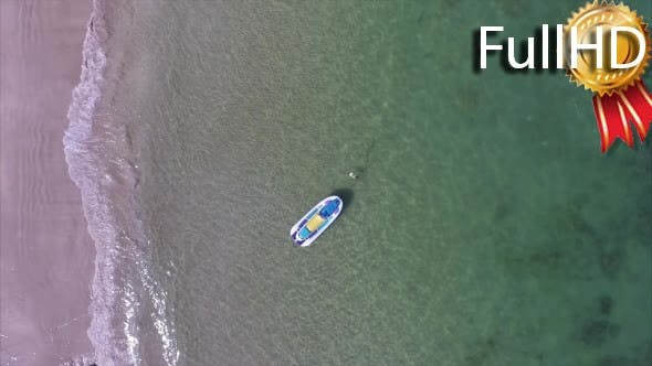 Aerial View of the Beach With Jet Ski