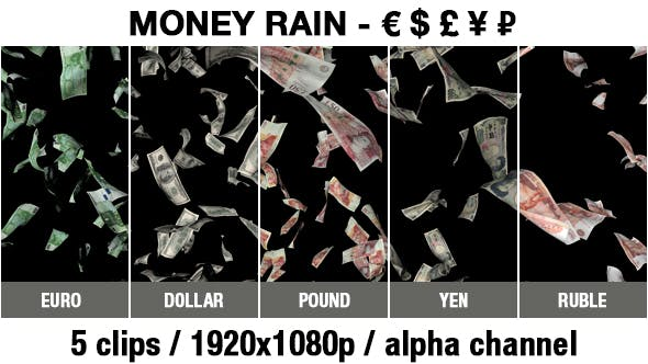 Cover Image for Money Rain - Euro, Dollar, Pound, Ruble, Yen