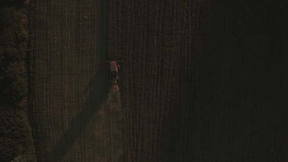 Cover Image for Directly Above Shot of Tractor in Crop Field