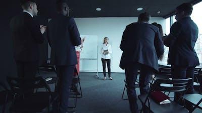 Businesswoman Ends Her Speech