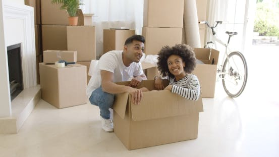 Thumbnail for Happy Young Couple Moving House Together