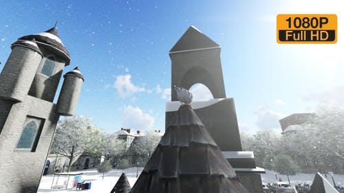 Snowy Castle and pigeon