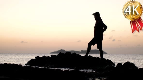 Thumbnail for Man Silhouette Standing on a Rock in the Sea