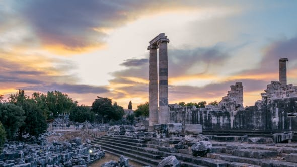 Thumbnail for Ruins of the Largest in the World Apollo Temple with Spectacular Sunrise, Didim, Turkey, , .