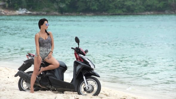 Thumbnail for Optimistic Pretty Woman on Her Motorbike
