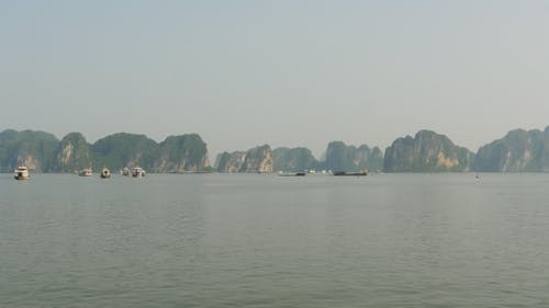 Mountain Scenery at Halong Bay, Vietnam.