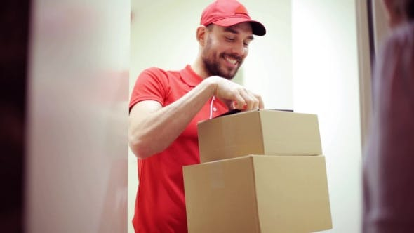 Thumbnail for Happy Man Delivering Parcel Boxes To Customer Home 45