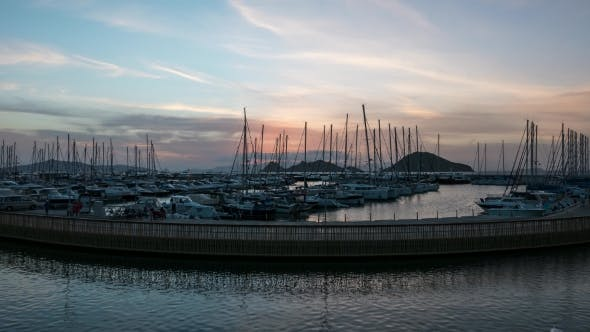 Thumbnail for A Harbour View at Sunset. Yacht Marina with Night Illumination