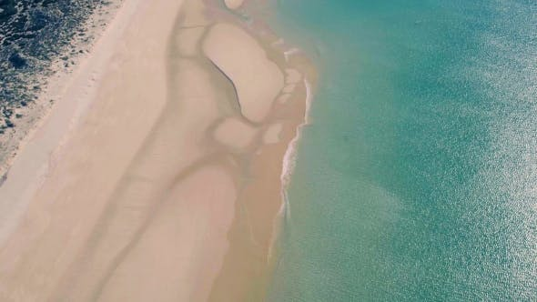 Thumbnail for Aerial View Small Waves on Sandy Beach
