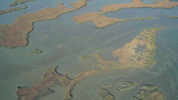 Thumbnail for Aerial Flight Over the Swampy Shore at Low Tide