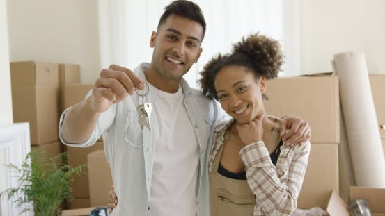 Thumbnail for Proud Young African American Couple with Keys