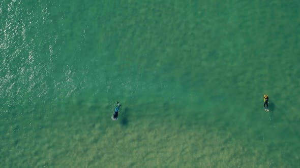 Thumbnail for Aerial View of Surfers Riding Green Ocean Waves