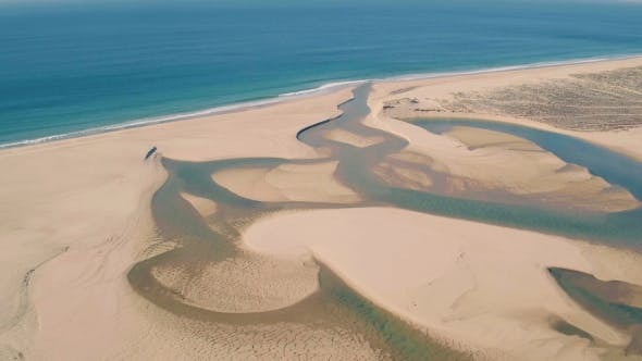 Thumbnail for Aerial View Above Ocean Beach with Lagoon