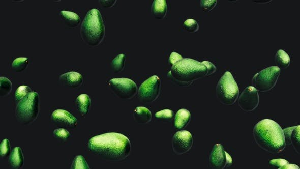 Thumbnail for Infinite Avocados Falling on a Black Background