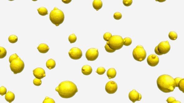 Thumbnail for Falling Lemons on White Background